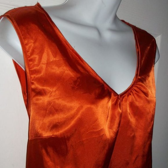 Jessica Orange Satin Top Fits Size 16